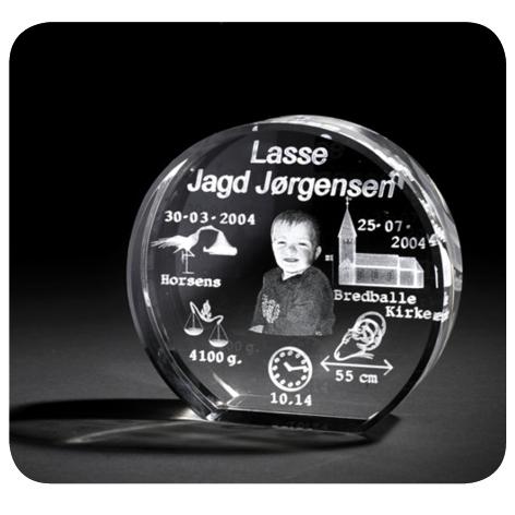 dåbsglas rund til dåb 3D foto