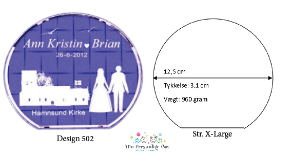 Bryllupsglas – rund – str. X-Large-1142