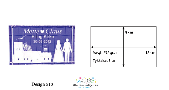 Bryllupsglas – 3 x 8 x 13 cm.-1053