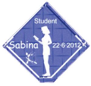 Gave til studenten - 7 cm kvadrat med fod-0