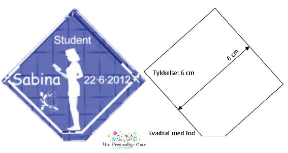 Gave til studenten – 6 cm kvadrat med fod-943