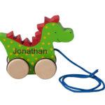 legetøj trækdyr drage med barnets navn
