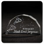 Glas med stjernetegn og navn