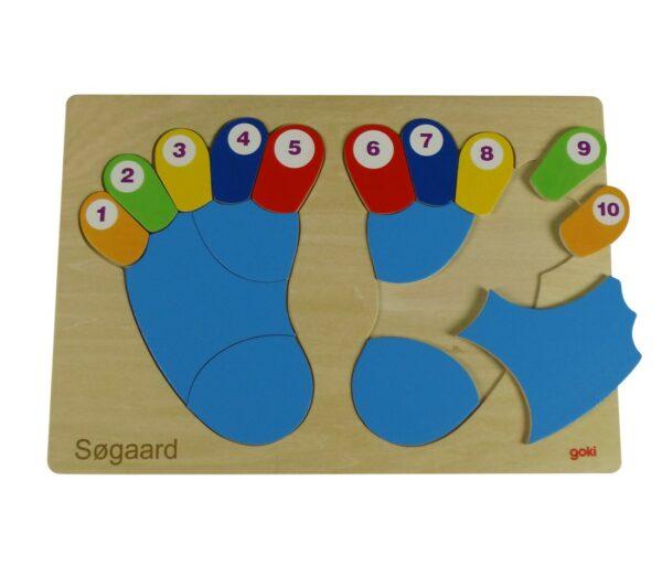 puslespil med fødder og tal
