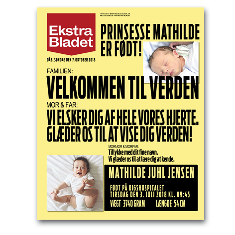 Ekstra Bladet – fødselsplakat – trykt med navn til dåb