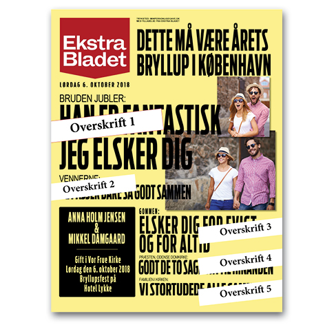 Ekstra Bladet plakat til årets brudepar – egen tekst