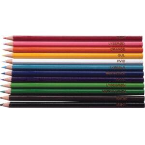 farveblyanter med farvens navn til farveblinde