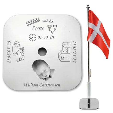 Bordflag til dåb med foto firkantet BF5000f