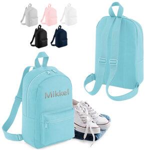 Broderet rygsæk med navn - mini - personlig gave