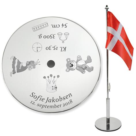 Bordflag graveret med navn og dato BF.Prinsesse