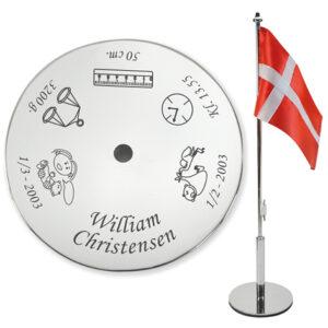 Graveret bordflag til navngivning