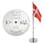Flag til dåb med indgraveret navn