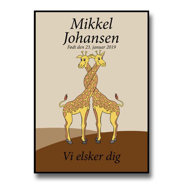 navneplakat med giraffer