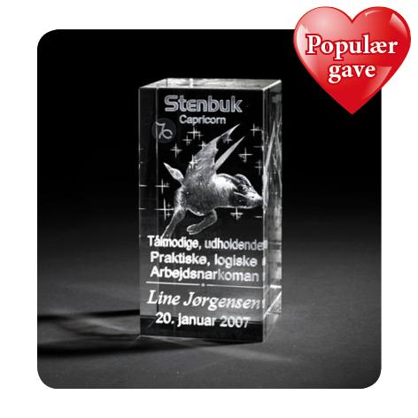 3D glas med stjernetegn – personlig populær gave med navn