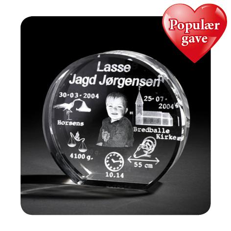 3D glas til barnedåb med foto – populær personlig gave til dåb