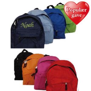 Broderet rygsæk med navn - populær gave