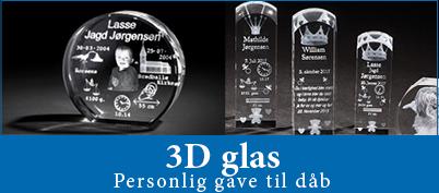 3D glas - personlige gave til dåb