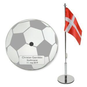 Konfirmationsflag med fodbold og navn