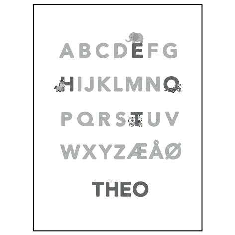 ABC plakat grå