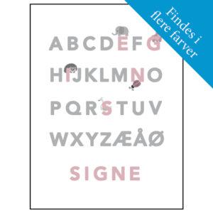ABC plakat med navn - rosa