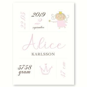 Den lille Prinsesse - fødselsplakat
