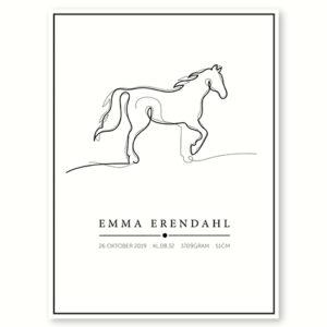 Hesten - plakat med navn og dato