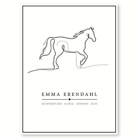 Hesten – plakat med navn og dato