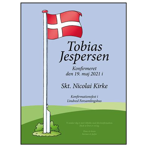 Flag konfirmation plakat med ramme – alm. skrift