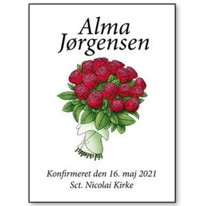 Plakat til konfirmanden 2021 - roser