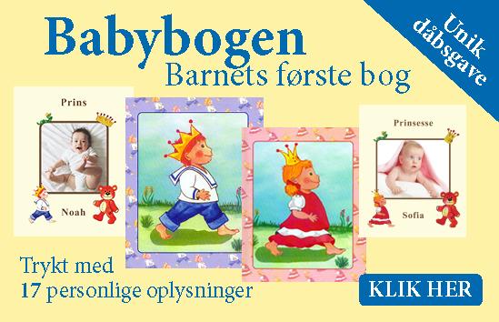 Babybogen - Barnets første bog - personlig dåbsgave med navn